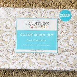 Waverly Evening Scroll Queen Sheet Set